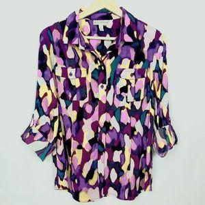 Dana Buchman Colorful Button Down Blouse